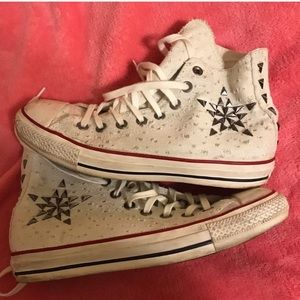 Converse Studded Star High Tops White & Silver